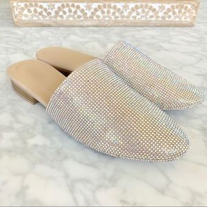 ✨RESSTOCK!  Nude Crystal Pointed Mule Flats